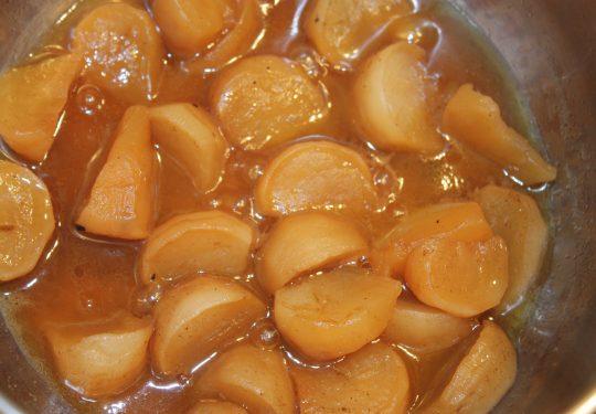 Navets confits caramélisés et au miel